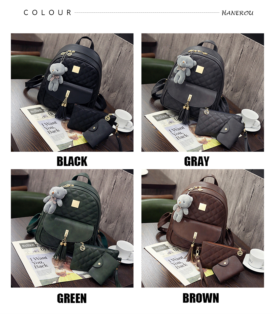Small Backpack & 3 Pcs Leather Handbags