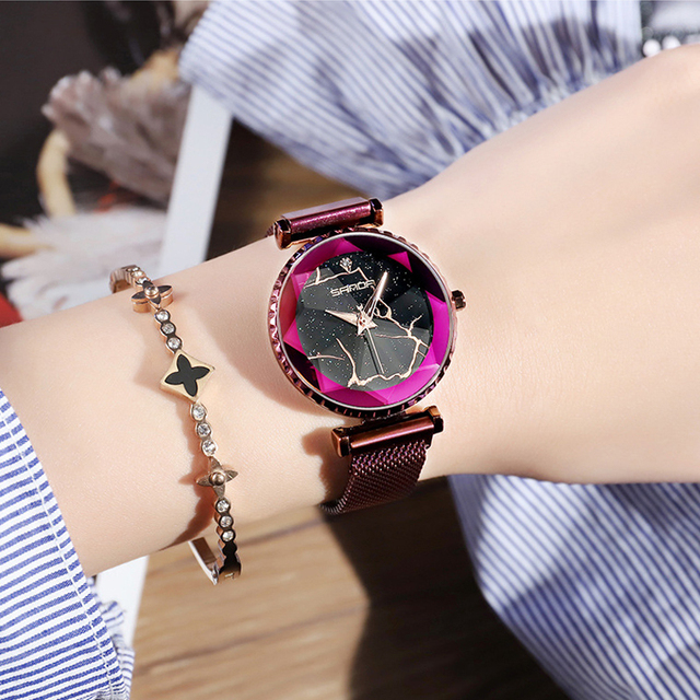 2018 Luxury Magnet Women Watches Gold Dress Bracelet Crystal Quartz Ladies Watch Starry Sky Female Steel Clock relogio feminino 1