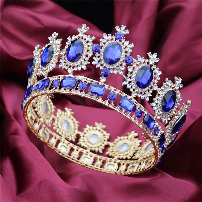 Baroque Reine Roi Mariée couronne de diadème Pour Les Femmes Coiffe De Bal De Mariée accessoires de mariage Diadèmes et Couronnes bijoux pour cheveux Pageant