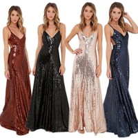 2016 New Good Quality Women Sexy Spaghetti Strap Open Backless Luxury Sequins Eve Party Formal Maxi