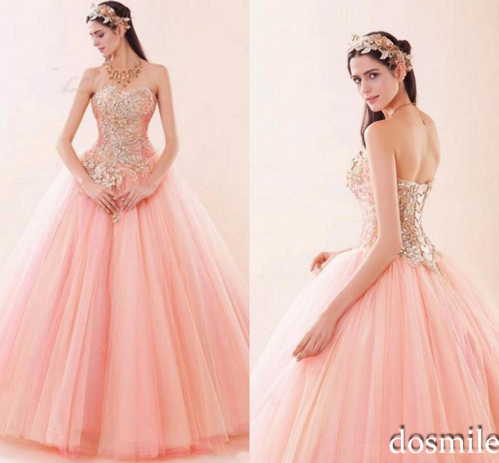 Fuchsia Gown: 2017 Sexy Princess Luxury Appliques Pink Tulle Sweet