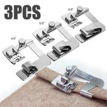 3pcs/lot Domestic Sewing Machine Foot Presser Rolled Hem Feet Set for Brother Singer Sewing Accessories rolled cuff curved hem top