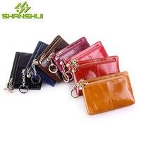 2017 Genuine Oil Wax Cow Leather Women 3 Zipper Pockets Cute Wallet Short Coin Purse Small