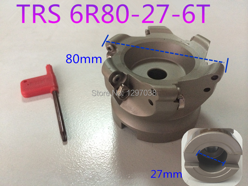 TRS 6R80-27-6T  Comer Rounding Face Mill Cutting diameter 80mm  TRS Round dowel Face mill  Height 50mm ld7530pl ld7530 sot23 6