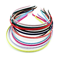 50 PCS Plain Solid Black Ribbon Wrapped Metal Headband 5mm Hair Band For Women Girls Hair Accessories DIY Craft