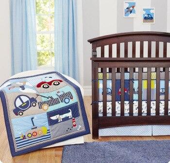 7PCS Embroidery Baby Bedding Set Baby Bumper Children Bed Linen Newborn kit de berço (4bumper+duvet+bed cover+bed skirt)