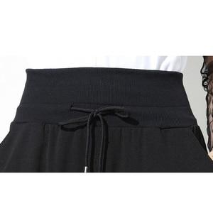 Image 5 - [EAM] 2020 Spring New Fashion Black Solid Drawstring Pockets Causal Loose Big Size Women High Waist Harem Pants RA224