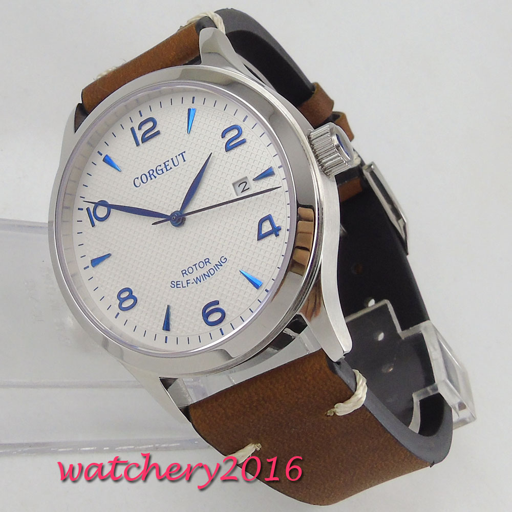 NEW 42mm Corgeut White Dial Sapphire Glass Blue marks Polished Bezel Date Luxury Brand Miyota Automatic Movement men's Watch fashion 42mm parnis white dial blue marks 2017 luxury brand watch mens sapphire glass miyota 9100 automatic men s business watch