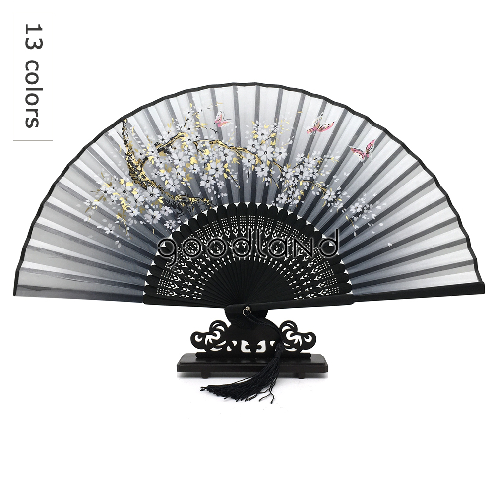 Free Shipping Wholesale 50pcs lot Folding Hand Fan Fabric Floral Bamboo Pocket Fan Mariage Wedding Box