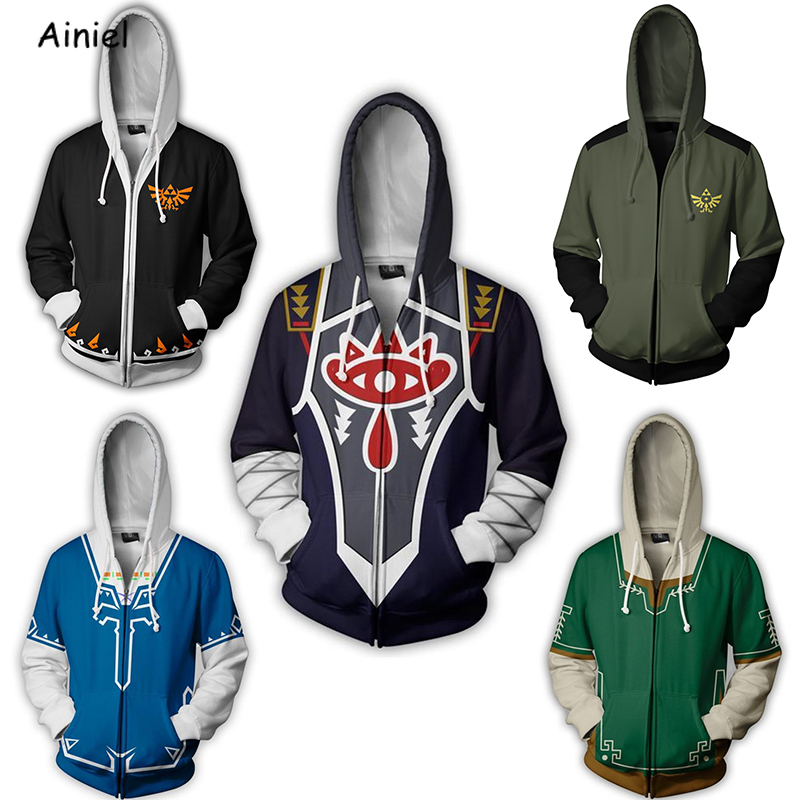 Hoodie Sweatshirt Jacket Cosplay-Costume Legend Zelda Cool Zipper Fashion Coat The of