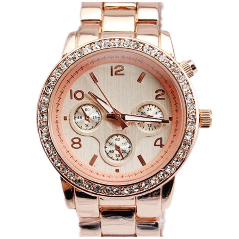Venta caliente de las mujeres de cristal de piedra de oro relojes 5 colores  elección oro rosa Wastches Fashion cuarzo relojes de plata para mujeres 60a3fdcc36d1