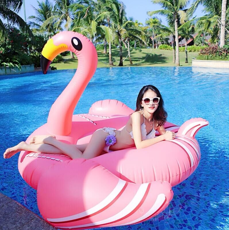 190CM 74Inch Giant Inflatable Flamingo Pool Float Pink Ride-On Swimming Ring Adults Children Water Holiday Party Toys Piscina 190 190cm fashion summer style gigantic pink ride on swim ring pool toys inflatable flamingo floating row for holiday water fun