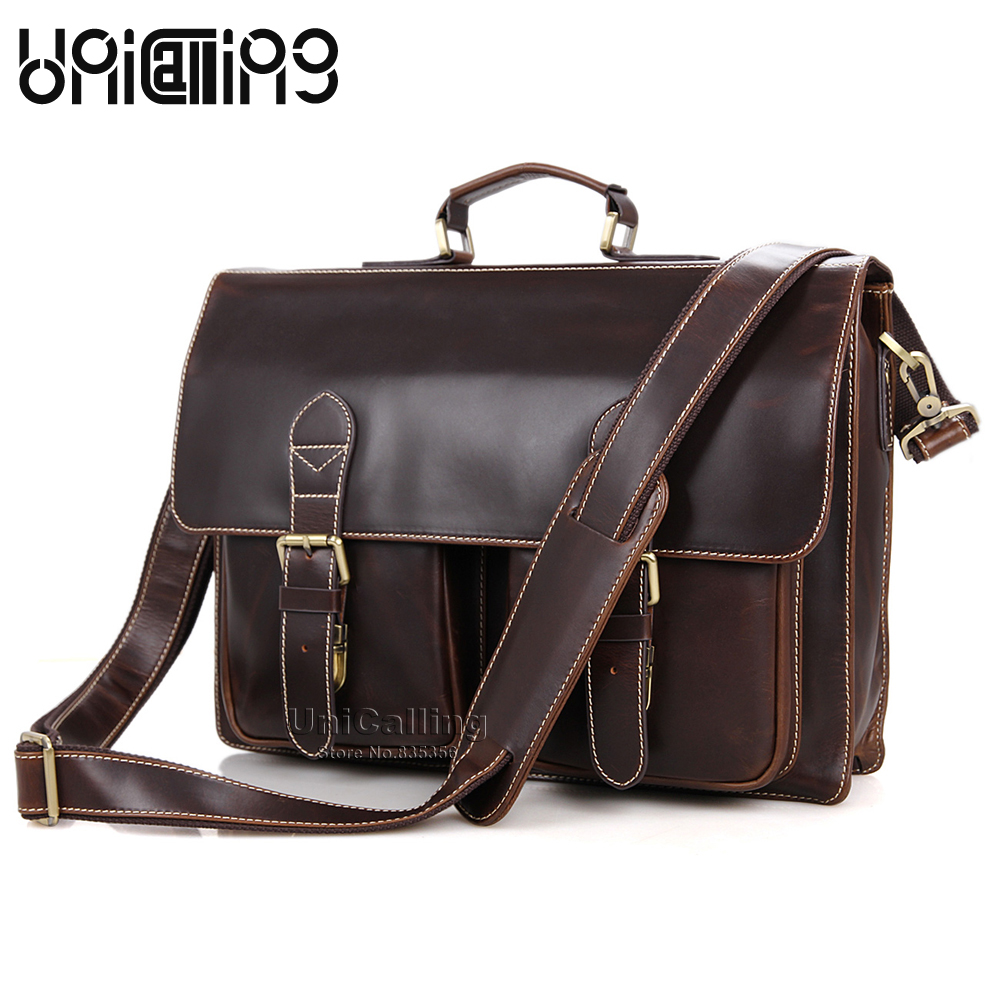 UniCalling vintage quality cow leather men handbag large capacity genuine leather briefcase business men real leather laptop bag