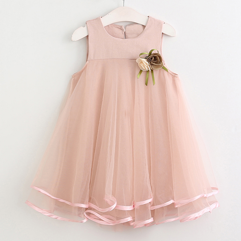 Girls Dress 2017 Brand Princess Dress Sleeveless Appliques Floral Tulle Design Girls Clothes for Party Dress