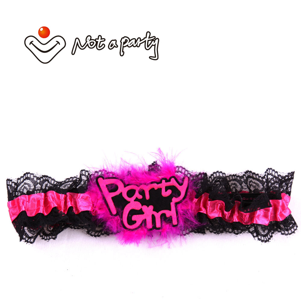 Hen Stag Do Hot Pink Black Lace Garter  Accessory