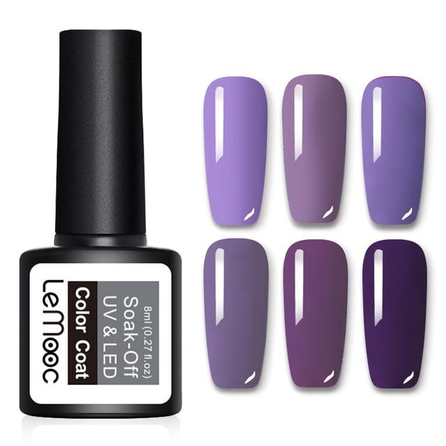 d3d5daceaf LEMOOC Glitter Gel Nail Polish 8ml Soak Off UV Gel Varnish 70 Colors Pure  Color Manicure Nude Pink Purple Gray Nail Gel Lacquer