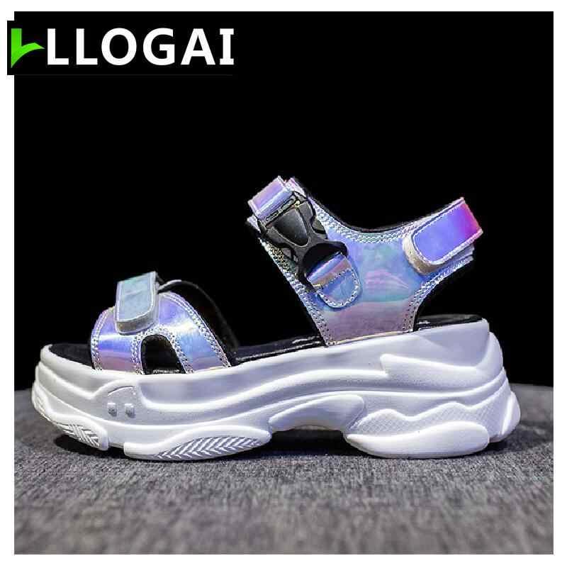 2019 ใหม่เซ็กซี่เปิด toed ผู้หญิงรองเท้าแตะ Wedge Hollow Out ผู้หญิงรองเท้าแตะกลางแจ้ง Cool แพลตฟอร์มรองเท้าผู้หญิงชายหาดรองเท้าฤดูร้อน