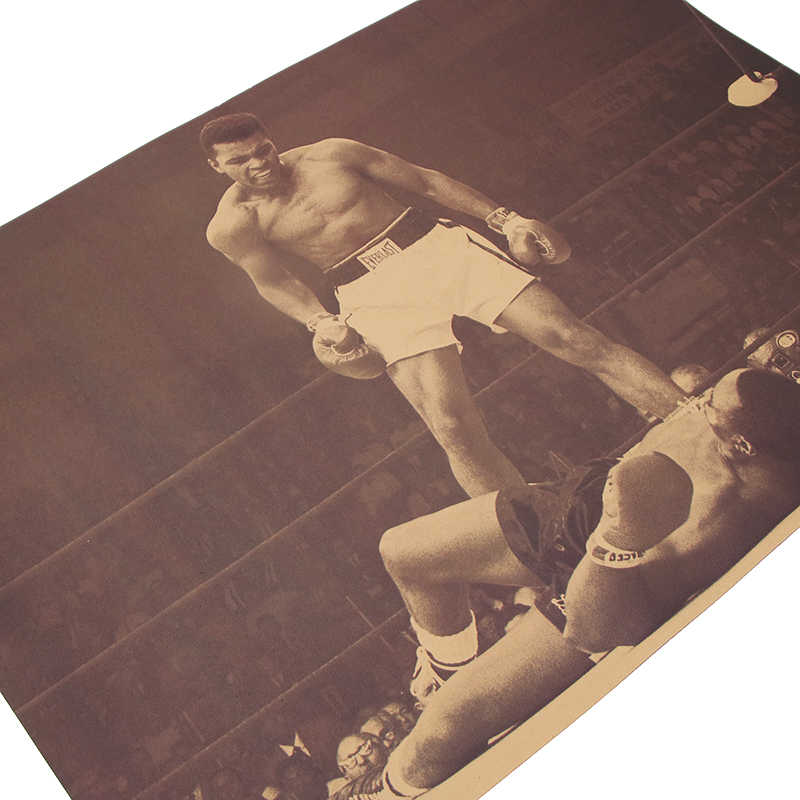 """muhammad Ali""vintage Poster Retro Kraft Paper Posters Bar Cafe Interior Decoration Painting Movie Poster 51x35.5cm Wall Sticker"