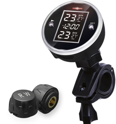 DC5V bezprzewodowy system monitorowania ciśnienia w oponach motocyklowych z wyświetlaczem czasu wodoodporny 2 czujniki zewnętrzne Monitor motocyklowy TPMS