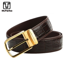 McParko men leather belt Crocodile Skin mens luxury belts genuine leather Stainless steel pin buckle metal belt brown Male Gift