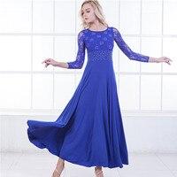 6 Colors Blue Standard Dance Dresses Flamenco Dress Ballroom Waltz Dresses Red Social Dress Tango Modern