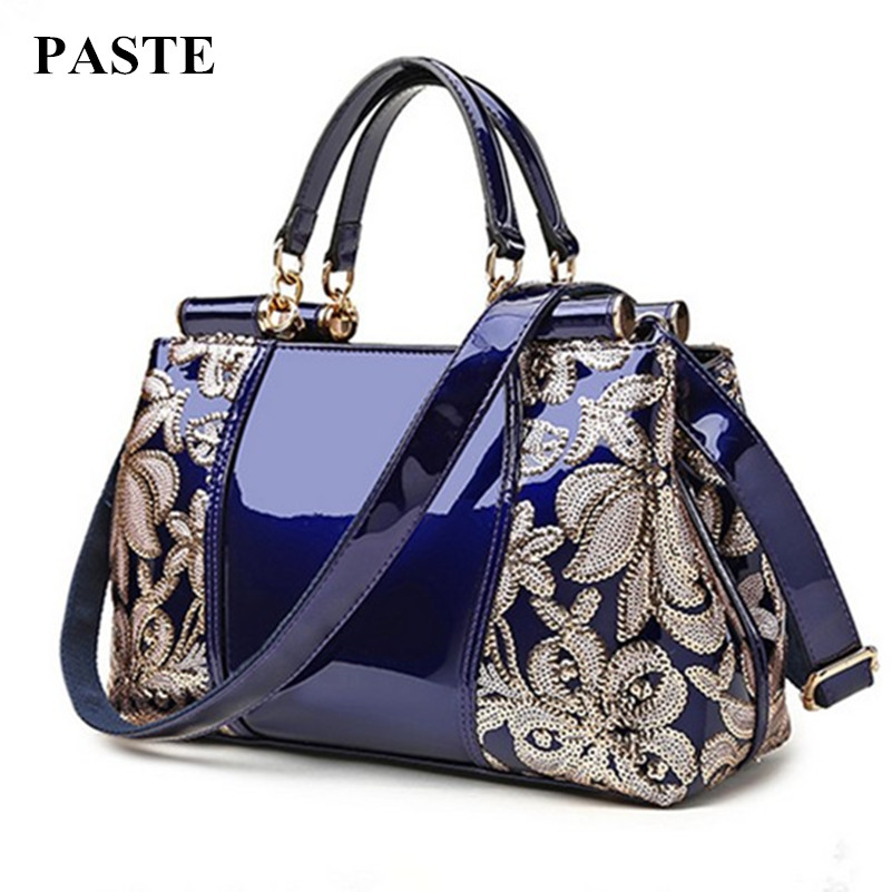 Luxury patent leather women handbag brand shoulder bag luxury fashion tote Clutch Sequins design patent diamond messenger bags patent leather handbag shoulder bag for women