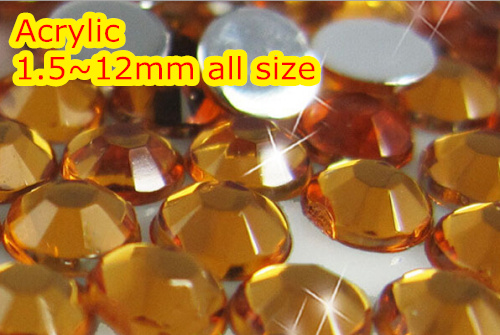 Orange Color 1.5~12mm All size Choice Flat Back Round Acrylic rhinestone,Acrylic Resin 3D Nail Art / Garment Rhinestone  cryatal clear color 1 5 20mm flat back round acrylic rhinestone acrylic resin 3d nail art garment rhinestone