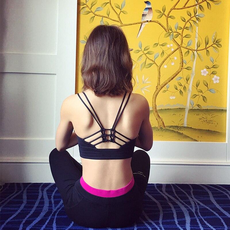 Prix pour Sirène courbe sexy retour femmes bowknot conception soutien-gorge de sport push up antichoc courir gym fitness yoga soutiens-gorge