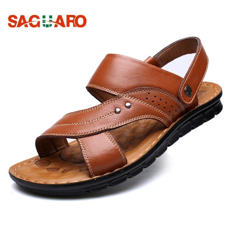 SAGUARO Summer Sandals Men 2018 Fashion Genuine Leather Sandals Shoes Outdoor Casual Slippers Flip Flops Men sandalias hombre