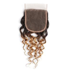 Image 5 - MOGUL HAIR Water Wave Hair Dark Brown Lace Closure 1B 27 Ombre Honey Blonde Color 8 20 inch Remy Human Hair Closure