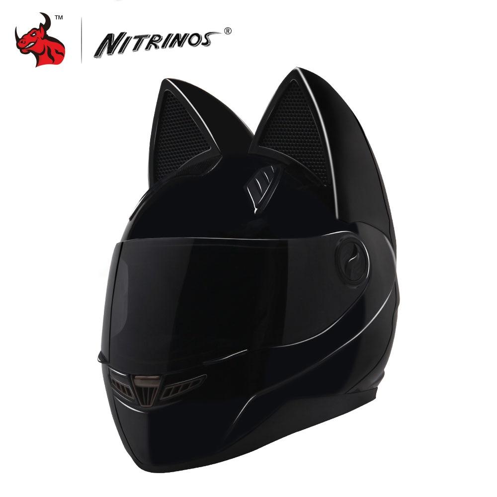 NITRINOS Casco Del Motociclo Delle Donne di Personalità Moto Capacete Gatto Nero Casco Integrale Viso Moto di Modo del Casco Casco Da Moto