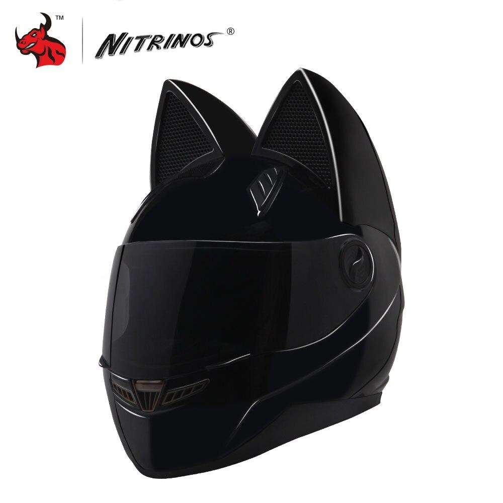 NITRINOS Moto Casque Femmes Personnalité Moto Capacete Noir Chat Casque Intégral Moto Casque Mode Moto Casque
