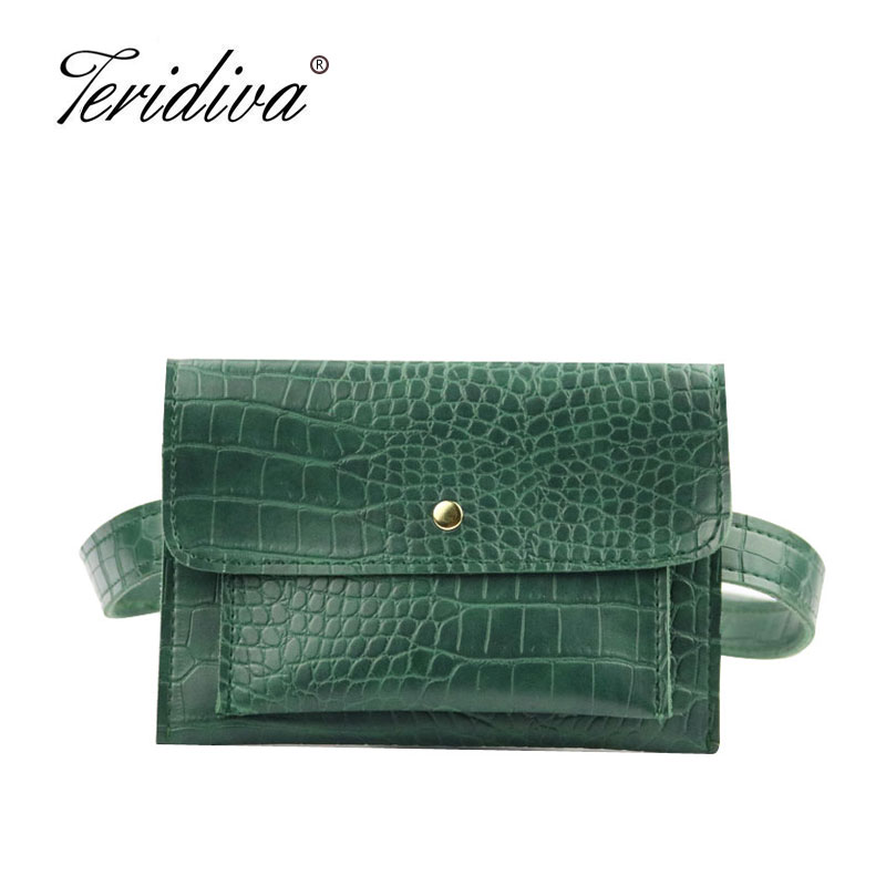 New Fashion Crocodile Shoulder Waist Bag Women Waist Fanny Packs Belt Bag Luxury Brand Leather Chest Handbag Alligator Envelope