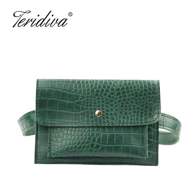 New Fashion Crocodile Shoulder Waist Bag Women Waist Fanny Packs Belt Bag Luxury Brand Leather Chest Handbag Alligator Envelope