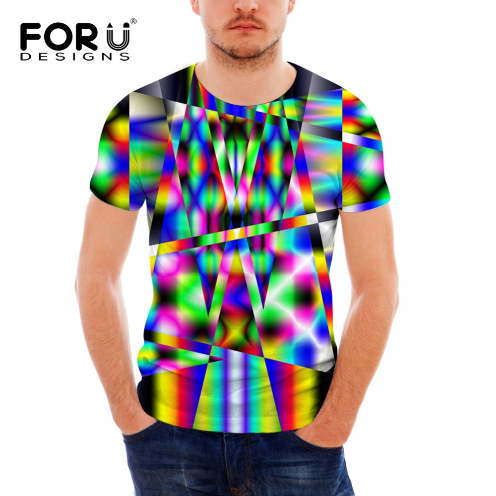 Forudesigns Men 3d T Shirt Novelty Bright Printing Tshirt Colorful