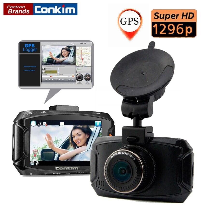 Conkim Voiture DVR Caméra Ambarella A7LA70 2304*1296 P 30fps 2.7 LCD VOITURE Dvr 170 Degrés G-sensor Dash Caméra Avec GPS Enregistreur De Voiture