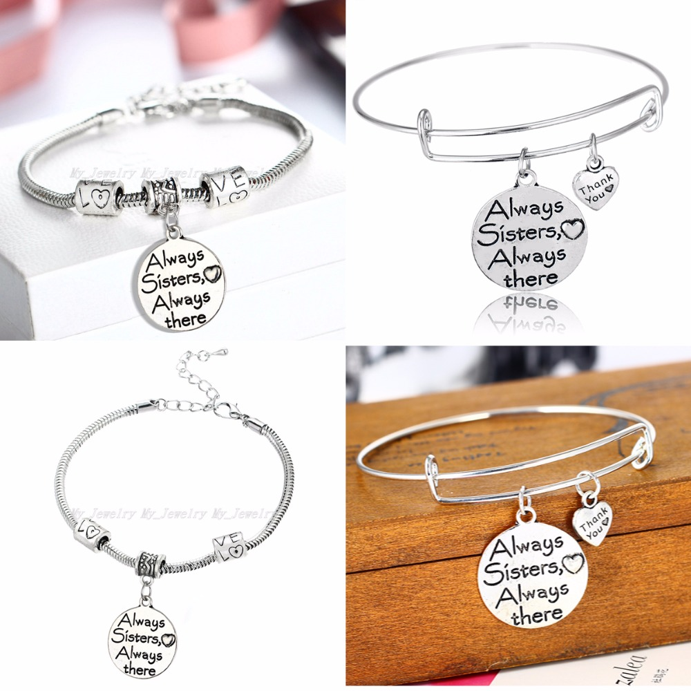 New Sister Sis Bracelet Always Sister Always There Love Bead Women Family Friends BFF Gift Bangle Charm Chain Friendship Jewelry