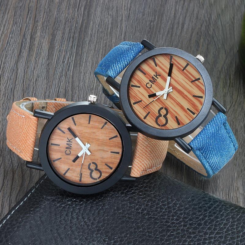 Fashion Luxury Imitation Wood Grain Watch Men Women Simple 2