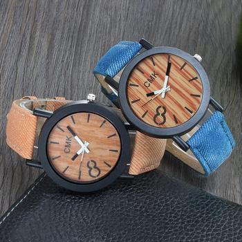 Fashion Luxury Men Women Simple Casual Leather Wood Grain Watch
