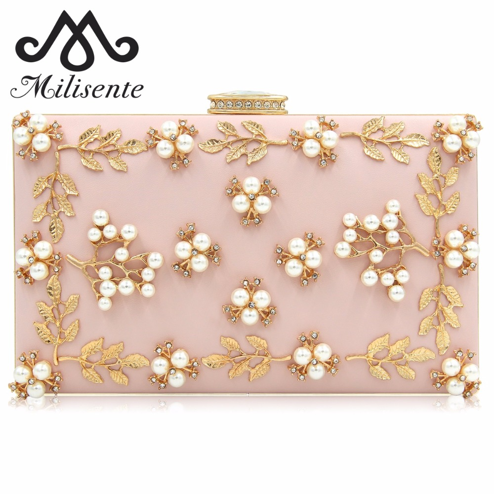 Milisente Women Flower Evening Bag Ladies Clutches Party Bags Female Beaded Wedding Clutch Purses colourful bird women evening luxury bags crystal clutches laides evening bag female party hard case bags wedding clutch purses