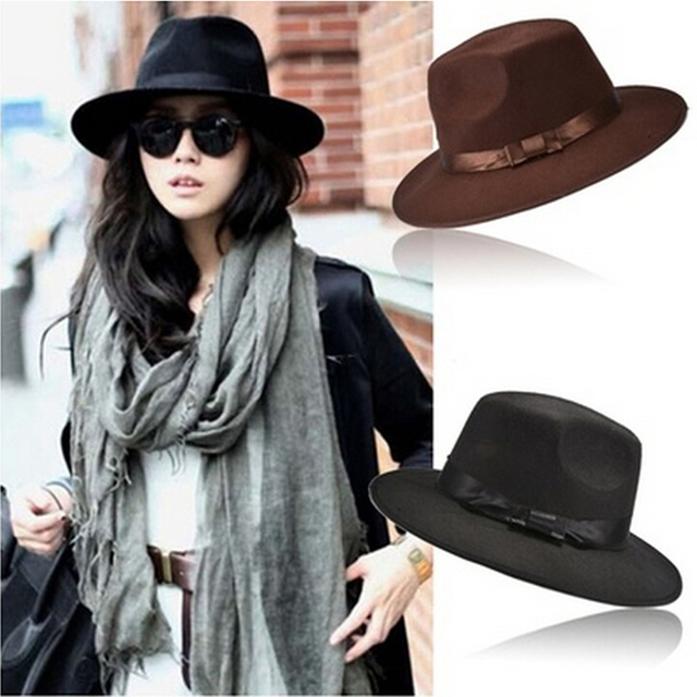 bfb7ebd38a0 Women Men Unisex Vintage Blower Jazz Hat Trilby Derby Cap Fedora Style Hats  Coffee Black Colors