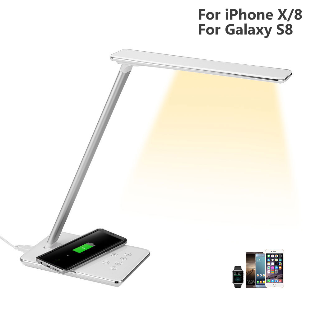 2in1 Wireless Charger Led Table Lamp For iPhone X/8 5W Dimmable Touch Sensor Desk Lamp USB Charging Bureau Office Reading Lights nillkin mc004 wireless charger phantom table lamp for smartphone