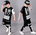 2016 de primavera y verano Para Adultos Niños niños que arropan el sistema Trajes negro Estrella blanca jazz Hip Hop danza Pantalones y Camiseta Para Adultos trajes