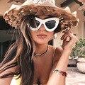 Oversized Cat Eye Sunglasses Mulheres Marca Designer De Óculos De Sol Mulher Cateye Tons Steampunk Óculos de Sol Para O Festival Do Partido Do Sexo Feminino
