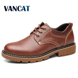 Vancat High Quality Men Casual Sheos 2018 New Genuine Leather Flat Shoes Men Oxford Fashion Lace Up Men's shoes Work Shoe