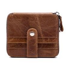 Фотография Genuine Cowhide Leather Wallet RFID Blocking Protective Purse Multi Pocket Credit Card Holder Coin Change Money Wallet 1026