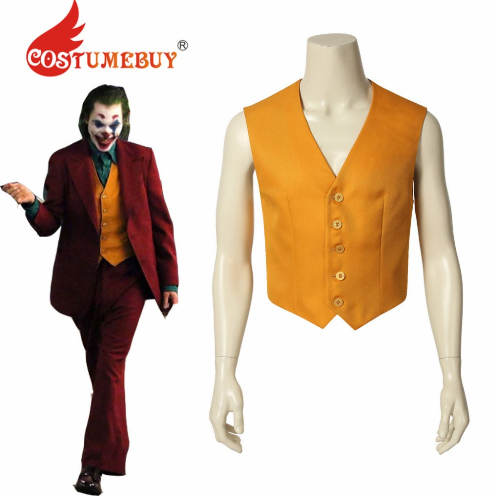 CostumeBuy Movie Joker Arthur Fleck Cosplay Costume Yellow Vest Batman Joker Top Waistcoat L920