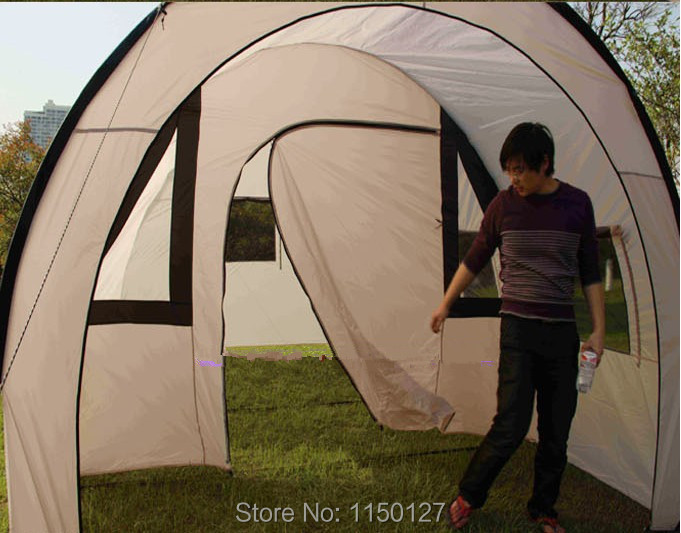Very large outdoor c&ing tent c&ing rain more than one room two hall new tunnel tents-in Tents from Sports u0026 Entertainment on Aliexpress.com | Alibaba ... & Very large outdoor camping tent camping rain more than one room ...