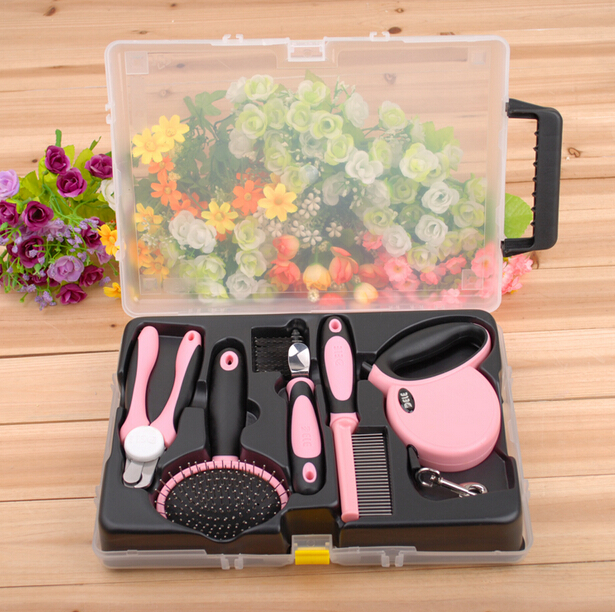 Pink/Blue 5 IN 1 Wholesale Pet Products DELE Pet Grooming Kit Dog Grooming Tool Set Comb Brush Leash Nail Clipper Luxury