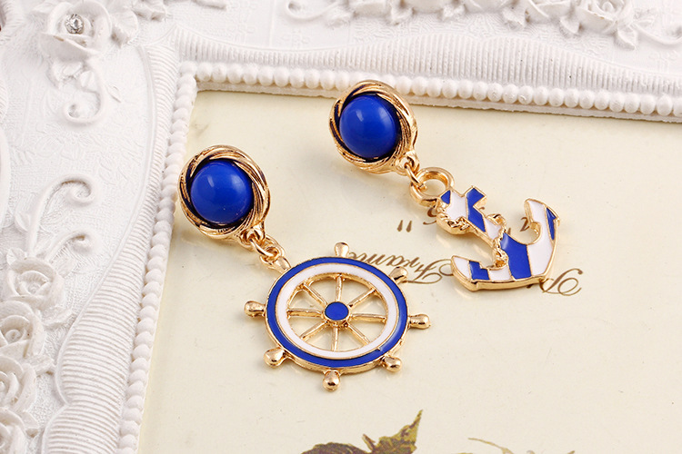 Gold Plating Navy Blue Anchor&Rudder Shaped Earrings For Women Brincos Navy Boat Anchor Drop Ear Jewelry